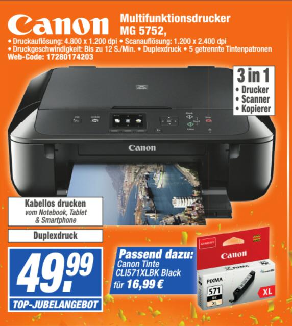 Multifunktionsdrucker Canon MG 5752 in den expert ehg Technikmärkten