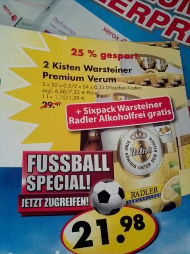 Lokal: 2 Kisten Warsteiner + 6pack Warsteiner Radler Alkfrei für 21.98€