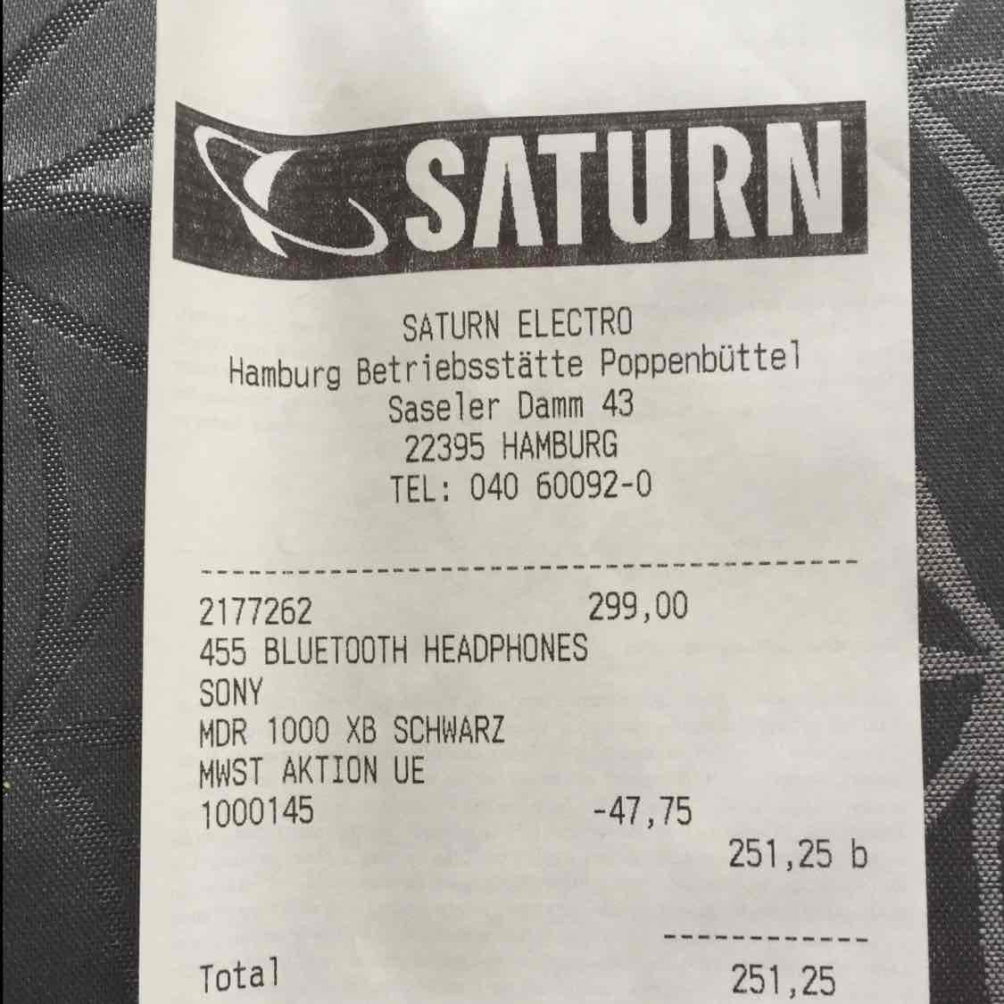 [LOKAL] Saturn Hamburg Sony MDR-1000X Kopfhörer