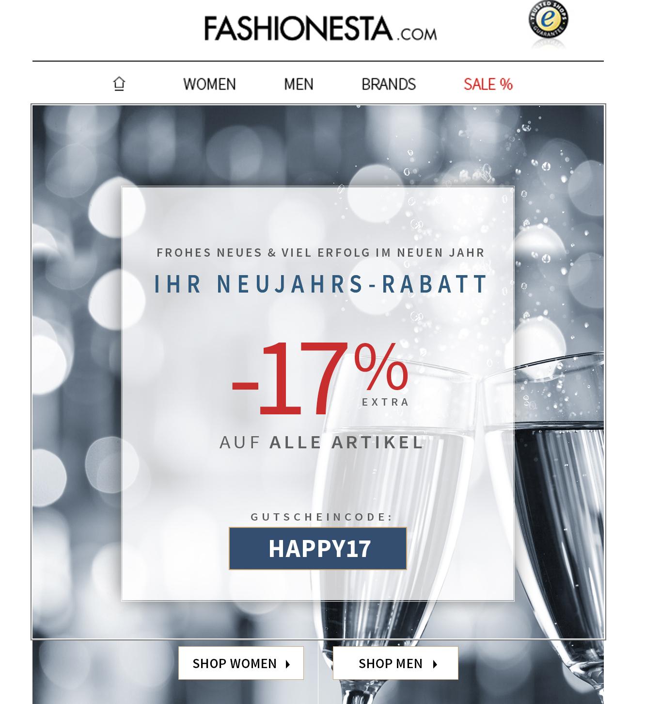 Bei FASHIONESTA gibt es heute noch 17% auf alle Artikel | Kein MBW