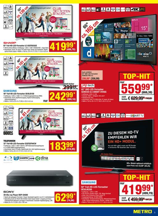 "65 Zoll 4K Smart TV JTC GENESIS UHD 6.5M DVX6S 666€ / 55"" GENESIS 5.5 für 357€ @Metro ab 05.01"