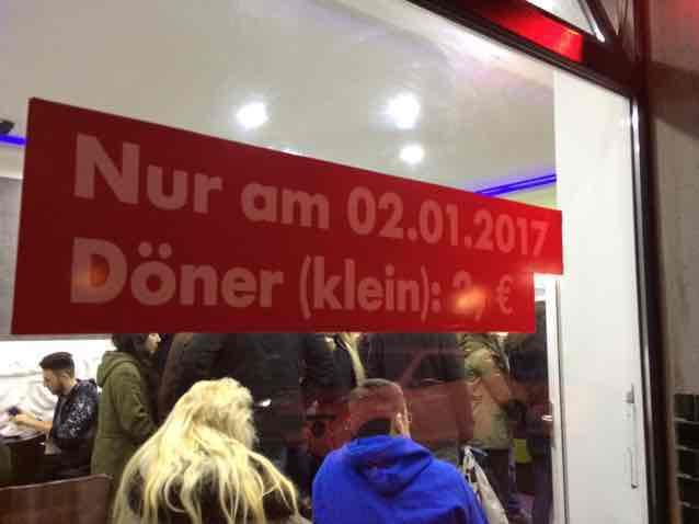 Döner 2€ nur am 02.01.17 in Oberhausen Lokal