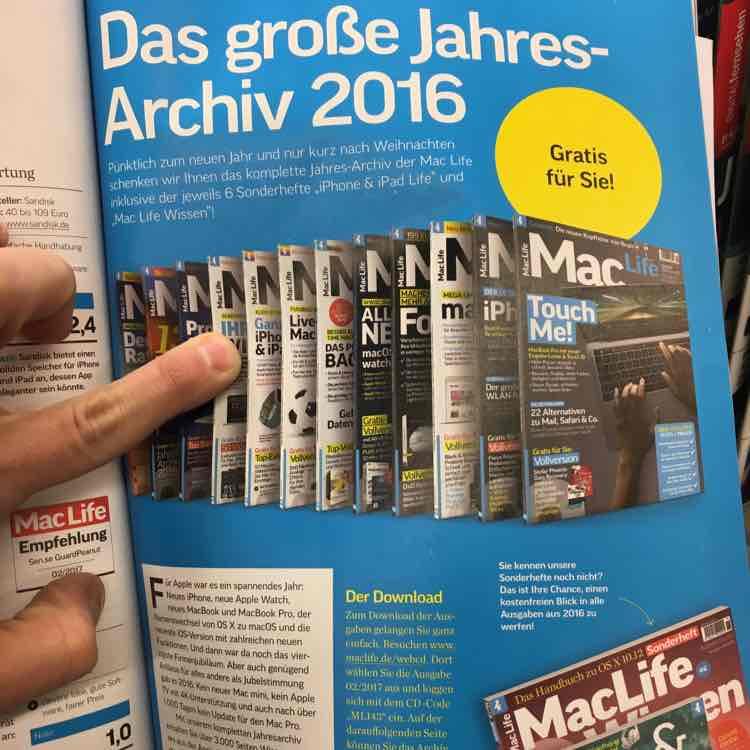 Zeitschrift MacLife als PDF (Digital) im Jahresarchiv 2016