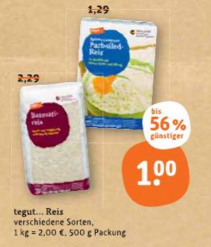 Basmati-Reis 500g bei Tegut bis Samstag für nur 1€
