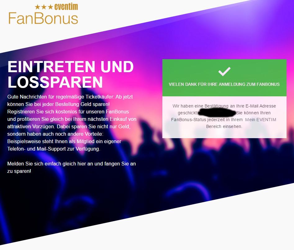 Eventim FanBonus (3% Cashback als Gutschein)