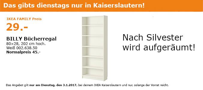 [Kaiserslautern] IKEA BILLY Regal für 29€ nur heute am Dienstag