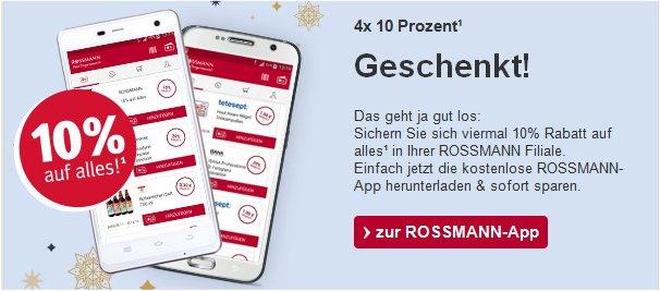 Rossmann - Automatisch 4 x 10 % Coupons mit weniger Einschränkung