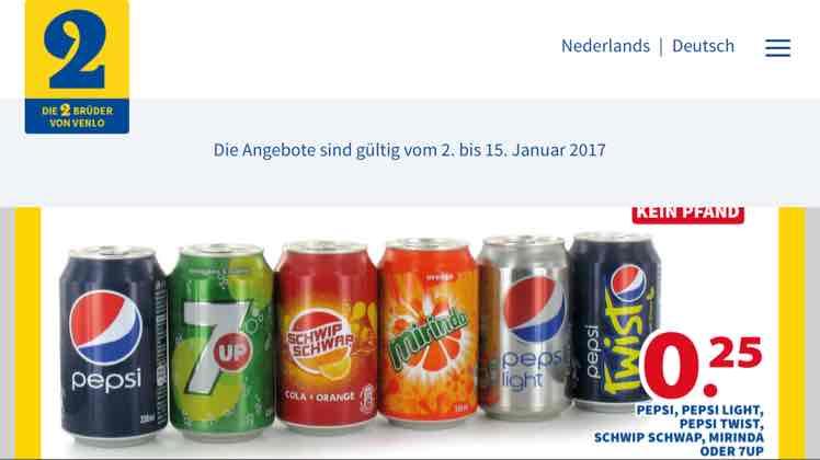 Pepsi, Pepsi TWIST, Mirinda, 7UP etc. [2 Brüder von Venlo] - 0.33L Dose