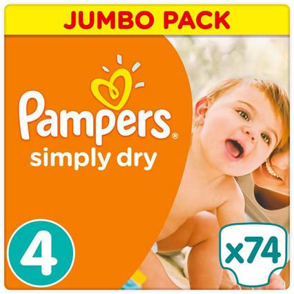 Pampers 5x Jumbo Pack Simply Dry (alle Größen) bei windeln.de (pro Paket 9,99€!)