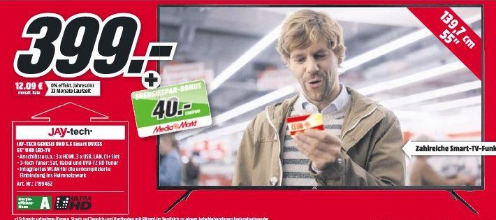 [Mediamarkt] JAY-TECH DVX5S Genesis 5.5 UHD LED SMART TV (55 Zoll / 139,?7cm, 4K/?Ultra HD) [Energieeffizienzklasse A] für 399,-€ + 40,-€ Energiespar-Coupon..Bei Abholung!