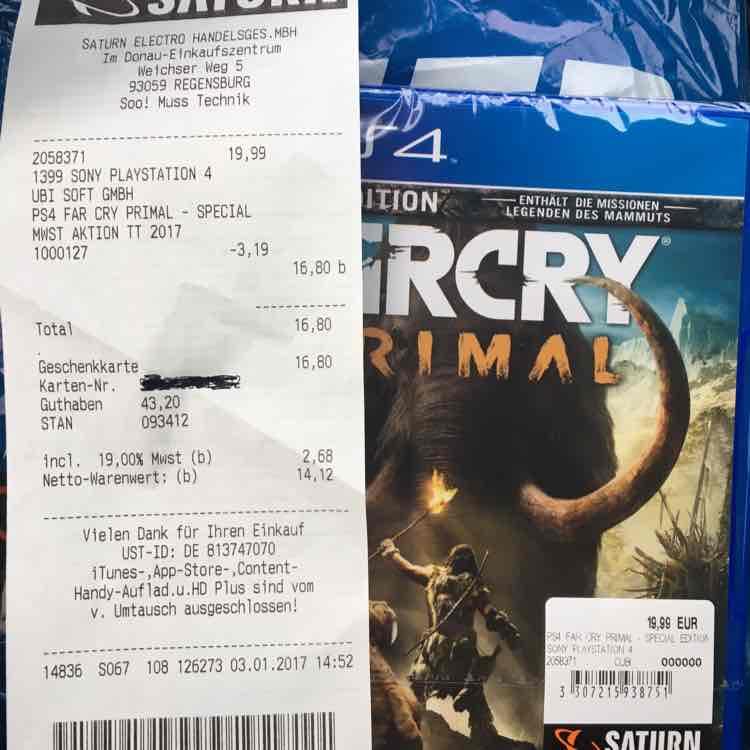[Lokal Saturn Regensburg?] Far Cry Primal Ps4 SE