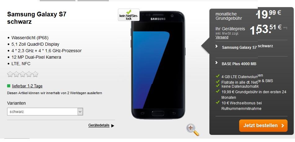 BASE Plus 4000 MB, 21,6 MBit/Sek. , mit günstigen Handy dazu (S7 z.B. für 153€)