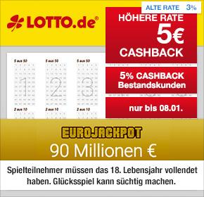 Lotto.de 5€ Cashback (bei 5€ MBW) als Neukunde oder 5% Cashback als Bestandskunde