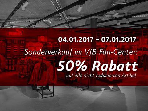 [lokal Stuttgart] Sonderverkauf im VfB Fan-Center mit 50% auf nicht reduzierte Artikel
