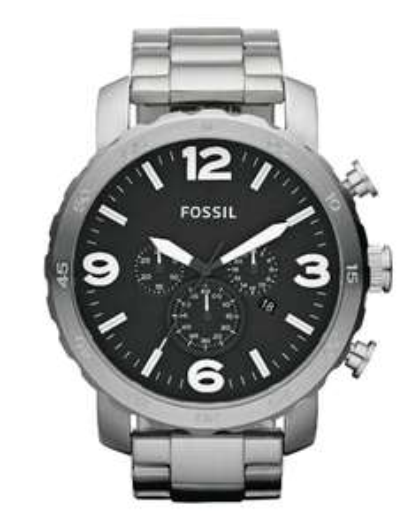 [Lokal-Fossil-Store Ochtrup] Fossil Nate JR1353 Silber Schwarz Herren  -52%