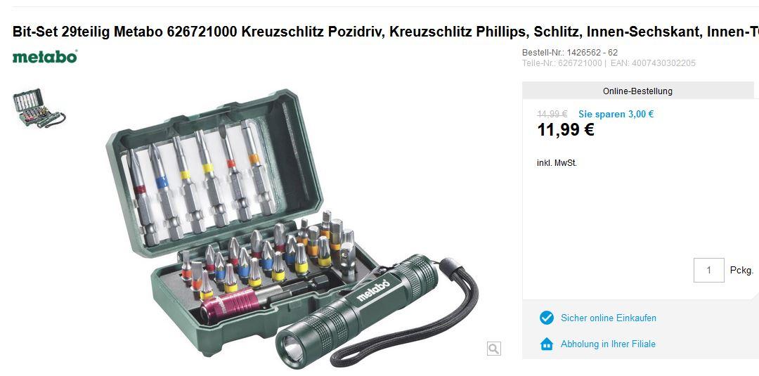 [Conrad] Metabo Bitset mit Langbits und LED-Taschenlampe für 11,99 EUR
