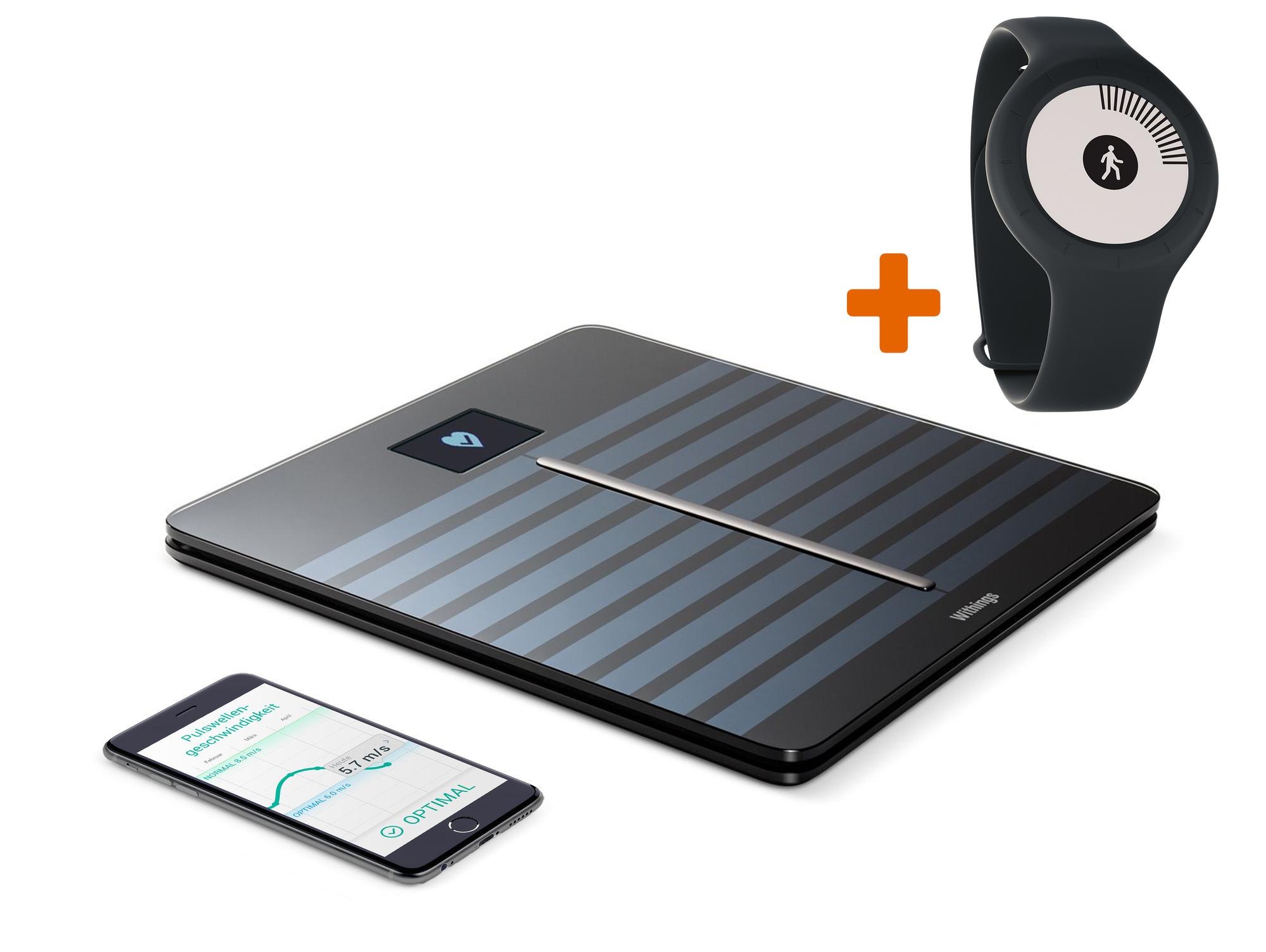 [Gravis] Withings Body Cardio Körperanalysewaage, WLAN/Bluetooth, schwarz oder weiß +   Withings Go Aktivitätstracker, mit Armband und Clip