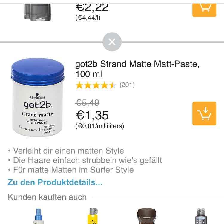 [Prime Now]got2b Strand Matte für € 1,35 und weitere Beauty Produkte um 20% reduziert