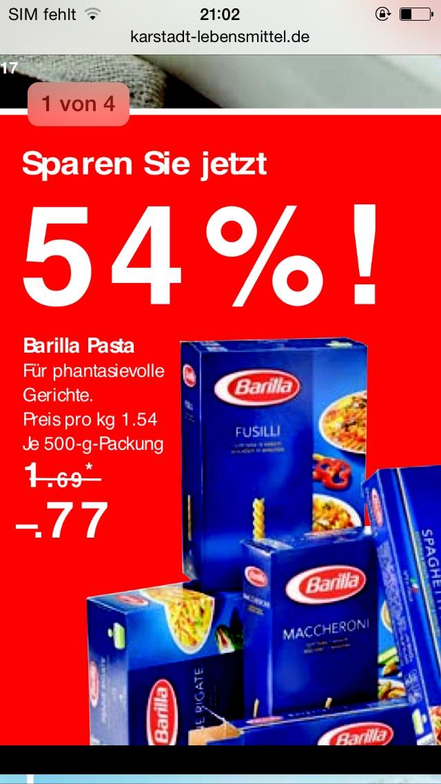 Barilla Pasta bei Karstadt für 77 Cent