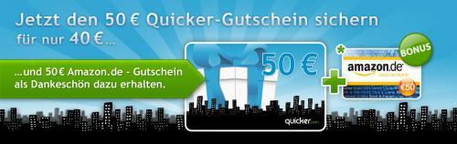 Quicker 50 Euro Amazongutschein für 40 Euro jetzt online! (35 Euro für Sparcard-Besitzer)
