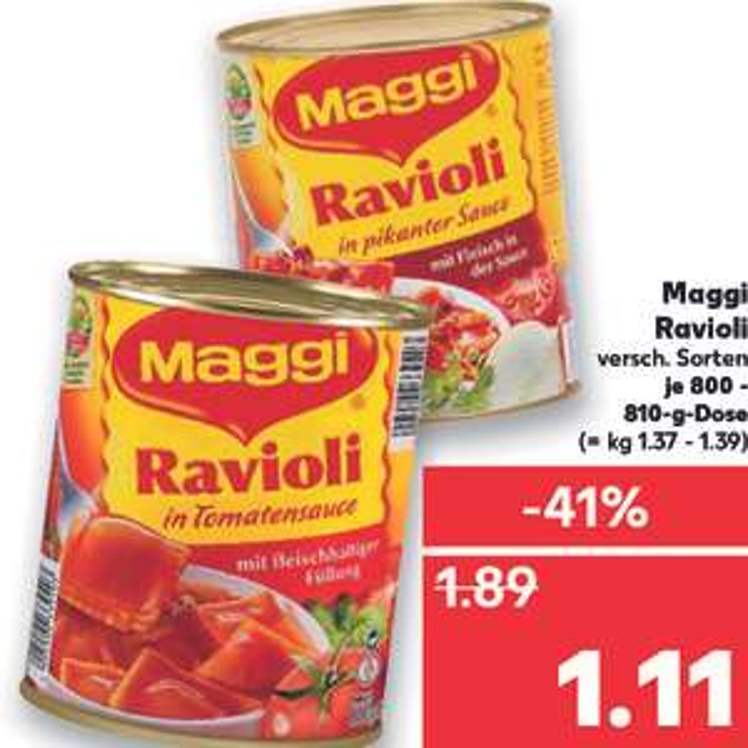 Maggi Ravioli 28 Dosen für 19,08€ damit nur 68 CENT pro Dose (Kaufland Erfurt Angebot + Rückerstattung)