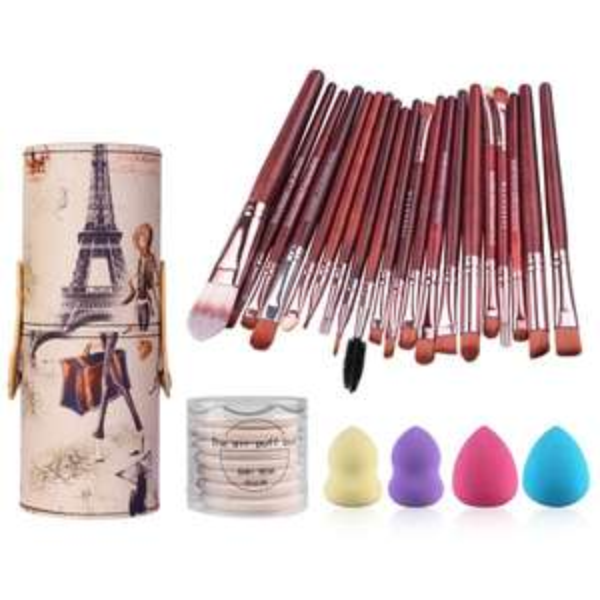 20 Pcs Makeup Brushes Set + Beauty Blenders + BB Cream Air Puffs + Brush Holder Ink. VSD!