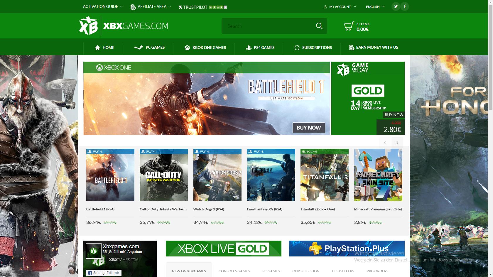 neue gute Seite für Xbox One,PC und PS4 Keys