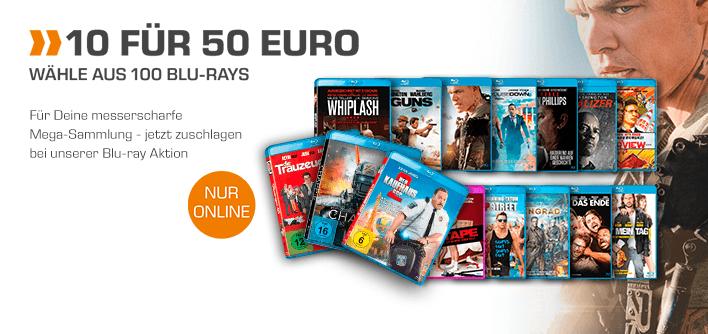 [Saturn] 10 FÜR 50€ AKTION --> 10 BLU-RAYS für 50,- € --> Wähle aus 100 BLU-RAYS