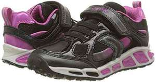 Geox Mädchen J Shuttle Girl D Sneakers, Schwarz (Black/FUCHSIAC0922), 32 EU