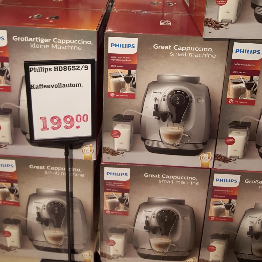 Philips HD8652/91 Easy Cappuccino Kaffeevollautomat mit Milchtank in Schwarz für 199€ [REWE CENTER]