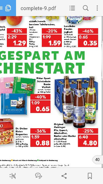 Ab dem 16.01.17 Oettinger Pils, Export oder Radler Kasten für 4,80 € plus Pfand