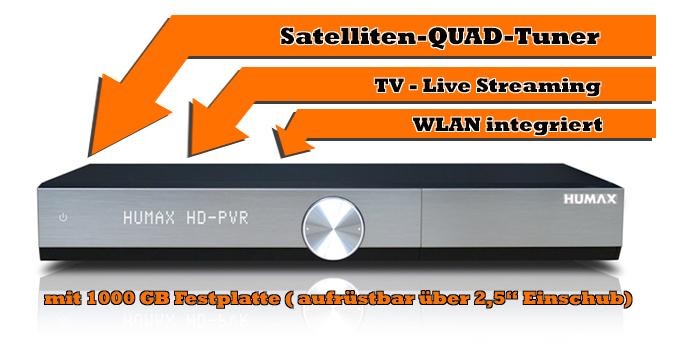"""Humax iCord Evolution HD Sat-Receiver (4x DVB-S2) mit 1000GB Festplatte, 2x CI+, LAN / WLAN, Einschubschacht für 2,5"""" Wechselfestplatten"""