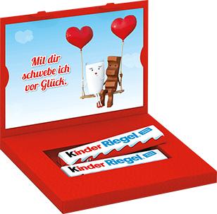 """Aktionspackung kinder Riegel kaufen und Gutschein für 1 kostenlose """"Liebespost"""" Grußkarte zum Versenden inkl. 2 Kinder riegel erhalten"""