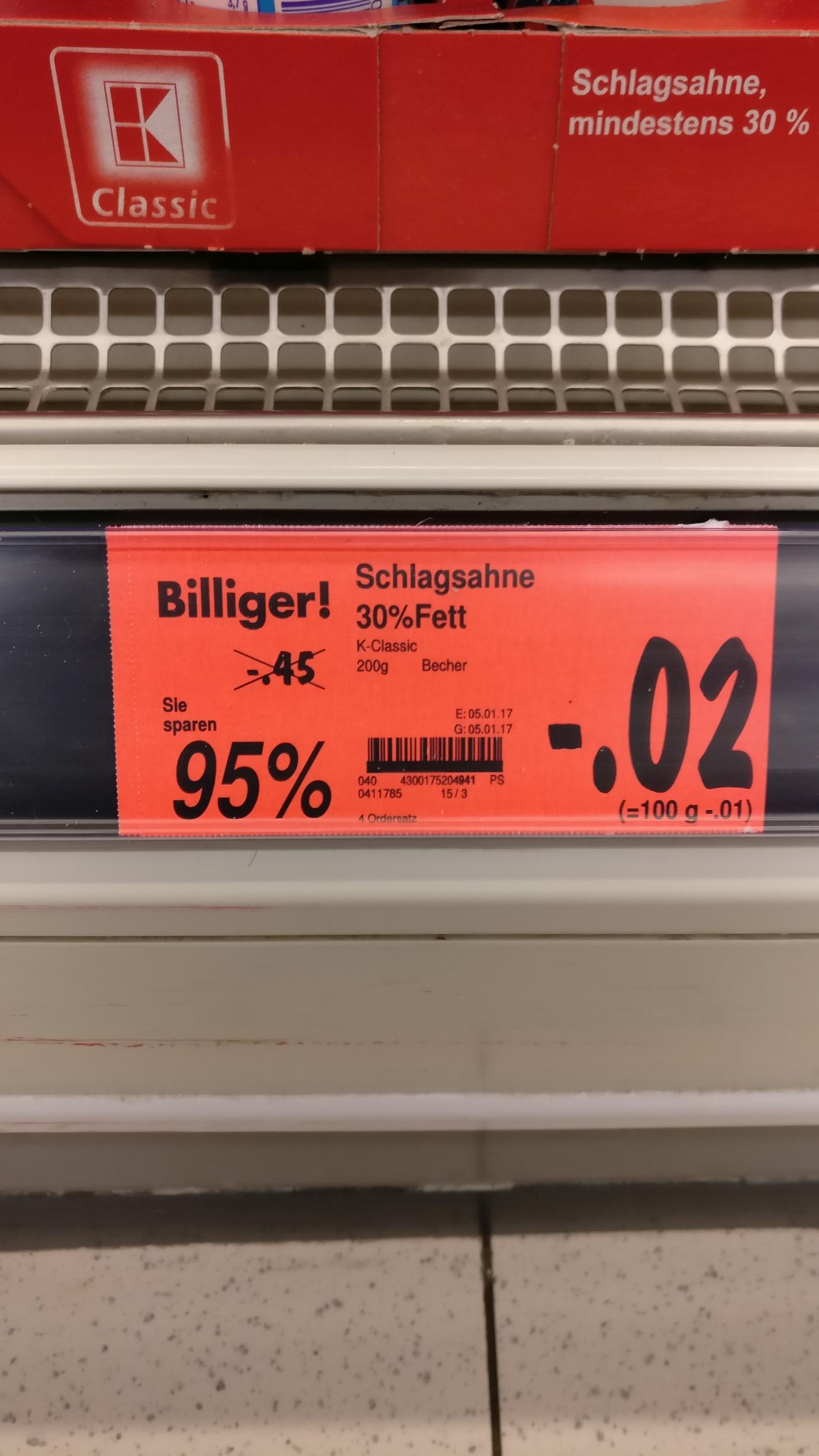 [Lokal Kaufland 33378] Schlagsahne 30% Fett 200 ml (MHD 7.1.) 0,02 € & Sagrotan 50 ml Desinfektionsspray 0,05 €