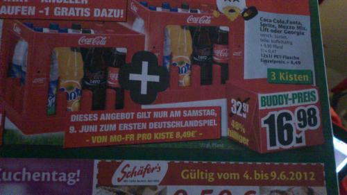 *offline* Marktkauf: 2 Kisten Coca Cola+1 Kiste gratis= 16,98 + Pfand, nur Samstag, 9.6.12