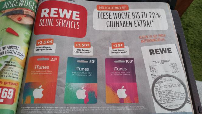 iTunes Guthaben 120,-€ für 100,-€ (20% mehr Guthaben)