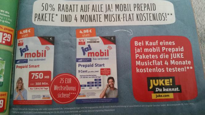 Ja! Mobil Prepaid mit 50% Rabatt für 4,98€ kaufen + 4 Monate Juke kostenlos