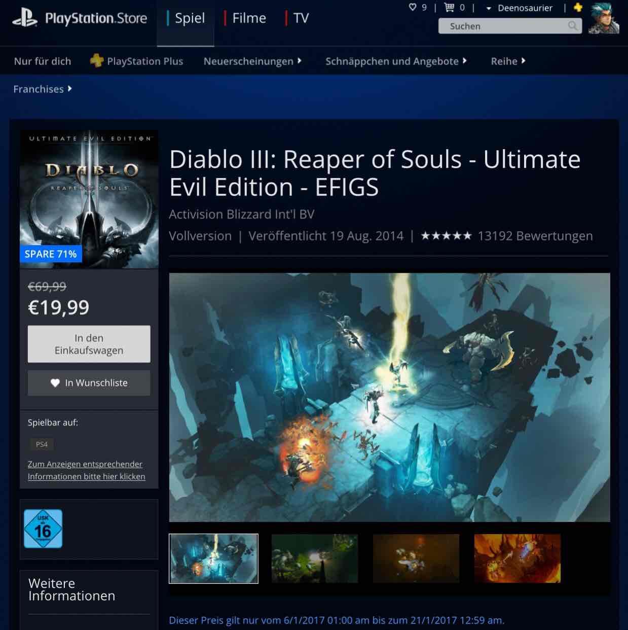 [PS4 PSN] Diablo III: Reaper of Souls - Ultimate Evil Edition - EFIGS 19,99€