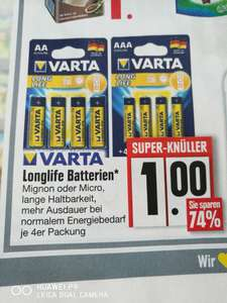 Edeka Varta Longlife Batterien 4er Packung für 1€