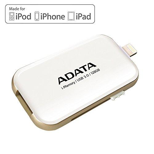 Amazon ADATA UE710 128 GB i-Memory Apple Lightning/USB 3.0 Speicherstick für iOS iPad/iPhone/Mac und PC - Weiß (AUE710-128G-CWH)