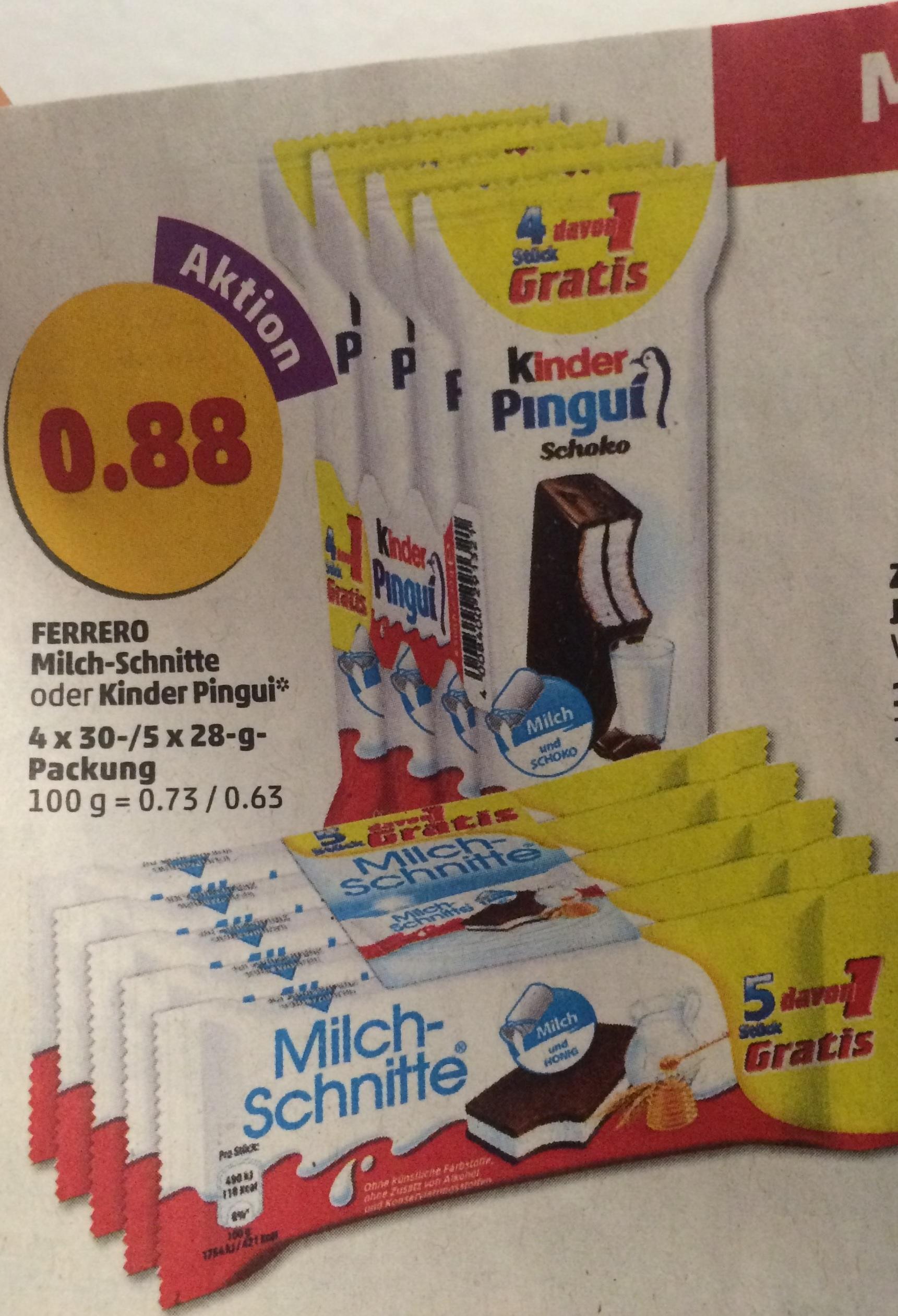 [Penny] 4x Kinder Pingui oder 5x Milchschnitte für 0.88€