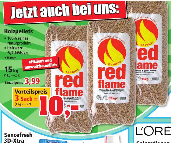 45 kg holzpellets red flame 3x15kg bei thomas philipps. Black Bedroom Furniture Sets. Home Design Ideas