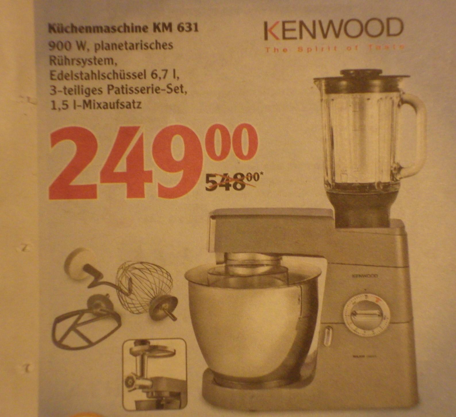 [Globus] Kenwood Küchenmaschine KM631 mit 3 Jahre Globus-Garantie für 249 Euro