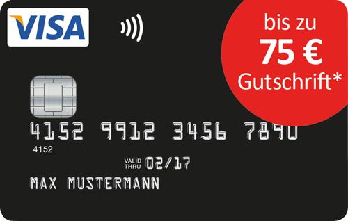 Schwarze VISA-Kreditkarte ohne Grund-/Jahresgebühr + bis 75€ Bonus