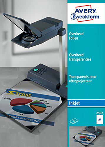 [Amazon Prime] Avery Zweckform 2502 Overhead-Folien (A4, spezialbeschichtet, stapelverarbeitbar, Stärke: 0,11 mm) 50 Blatt