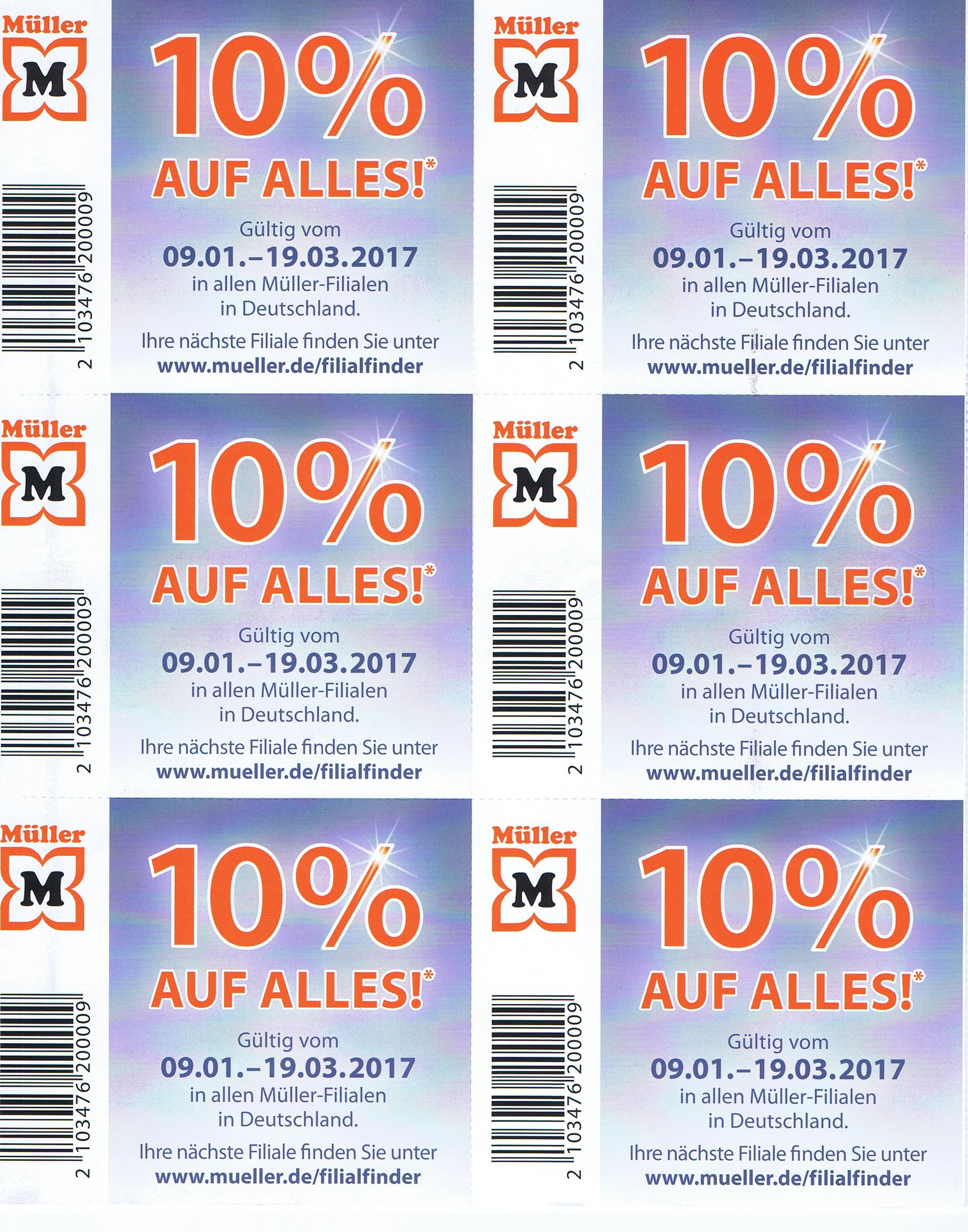 10% Müller Coupon gültig vom 9.1 bis 19.03.17