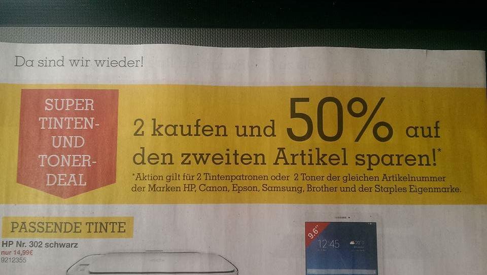 Staples (Offline) 50% Rabatt auf die 2.Tintenpatrone/Toner der gleichen Artikelnummer div. Modelle