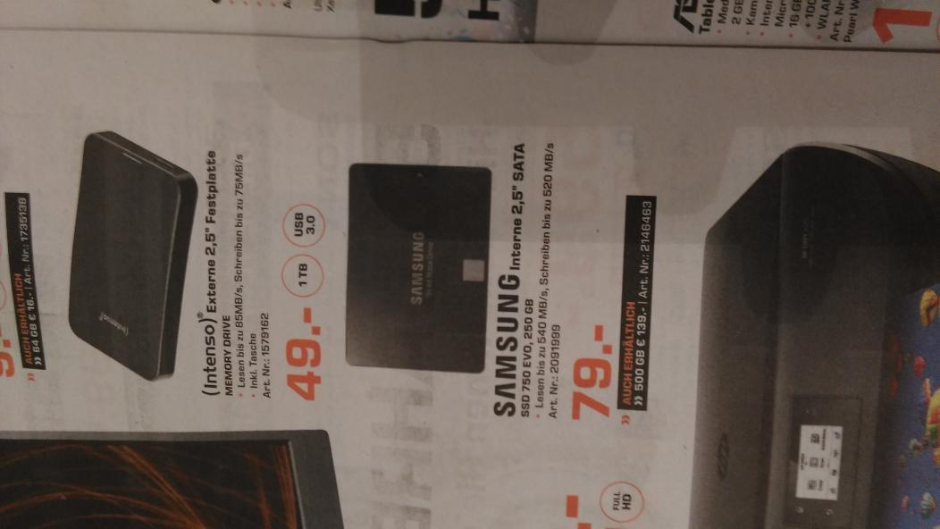 Samsung Evo SSD 250 gb 2.5 zoll Saturn