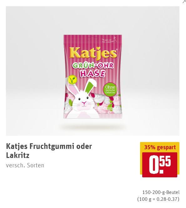 REWE / REWE Center: Katjes Fruchtgummi oder Lakritz (150 bis 200gr.) für je 0,55 Euro.