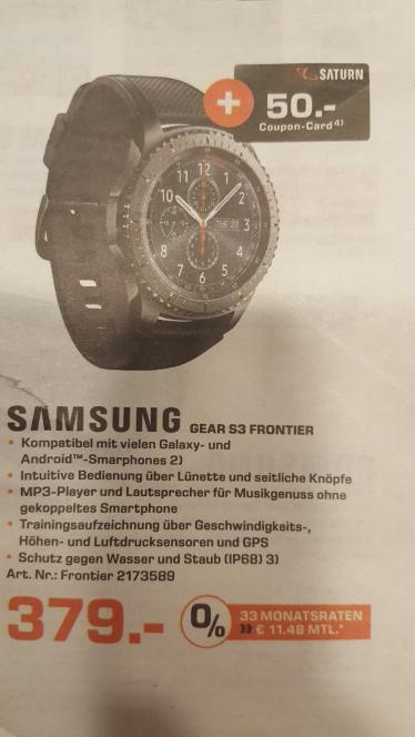 Samsung Gear S3 Frontier + 50€ Saturn Gutschein
